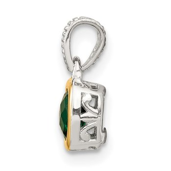 Sterling Silver w/ 14K Accent Created Emerald Pendant