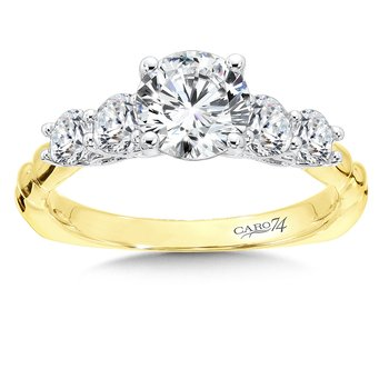 Engagement Ring With Side Stones in 14K Yellow and White Gold (1ct. tw.)