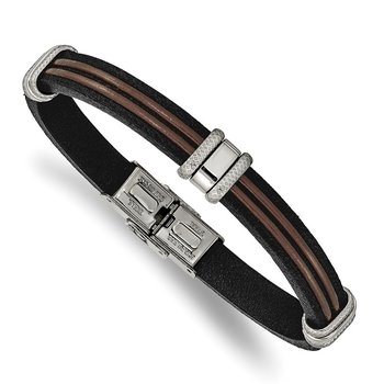 Stainless Steel Polished Black and Brown Leather 8.25in Bracelet