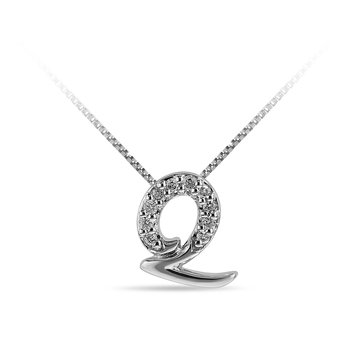 "10K WG and diamond cursive alphabet Q ""Chain Sliding "" pendant in prong setting"