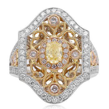 Tri-Colored Vintage Diamond Ring