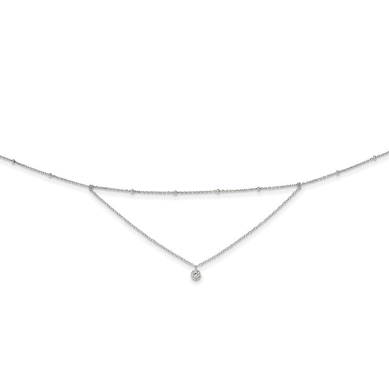 Quality Gold Sterling Silver Rhodium-plated CZ Beaded w/ 4in ext. Choker