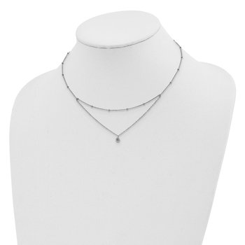 Sterling Silver Rhodium-plated CZ Beaded w/ 4in ext. Choker