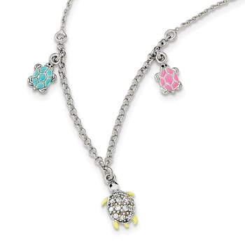 Sterling Silver Enamel CZ Turtle Children's Necklace