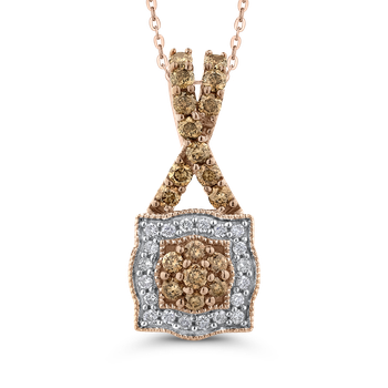 10K Rose Gold 1/2 Ct Brown and White Diamond Fashion Pendant with Chain