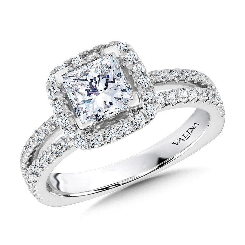 Valina Princess-Cut Split Shank Diamond Halo Engagement Ring
