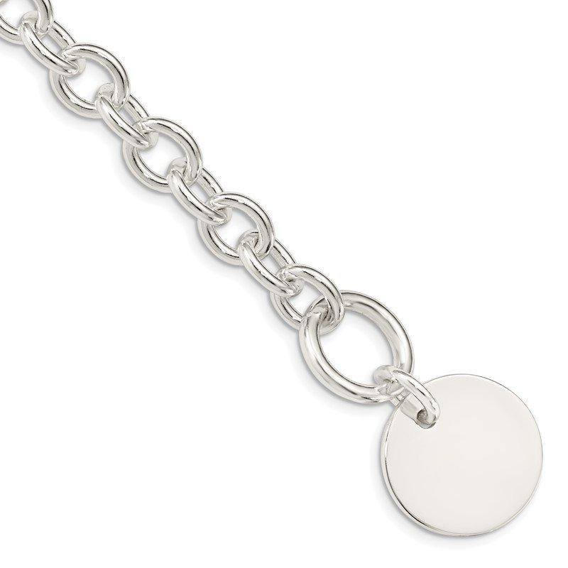 Quality Gold Sterling Silver Engraveable Circular Disc on Fancy Link Bracelet