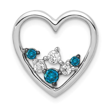 14k White Gold 1/4ct. Blue and White Diamond Heart Chain Slide