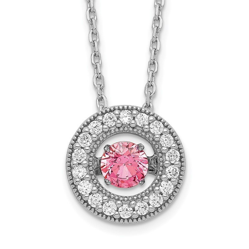 Quality Gold Sterling Silver RH-plated Rose-tone Moving Pink CZ w/2in ext Necklace