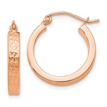 14K Rose Diamond cut In and Out Hoop Earrings