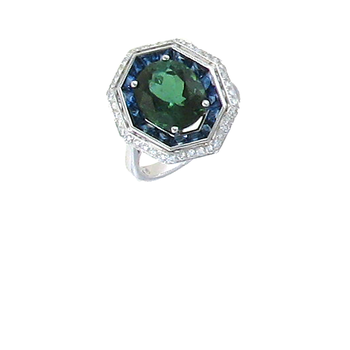18KT GOLD RING WITH DIAMONDS, GREEN TOURMALINE AND SAPPHIRE