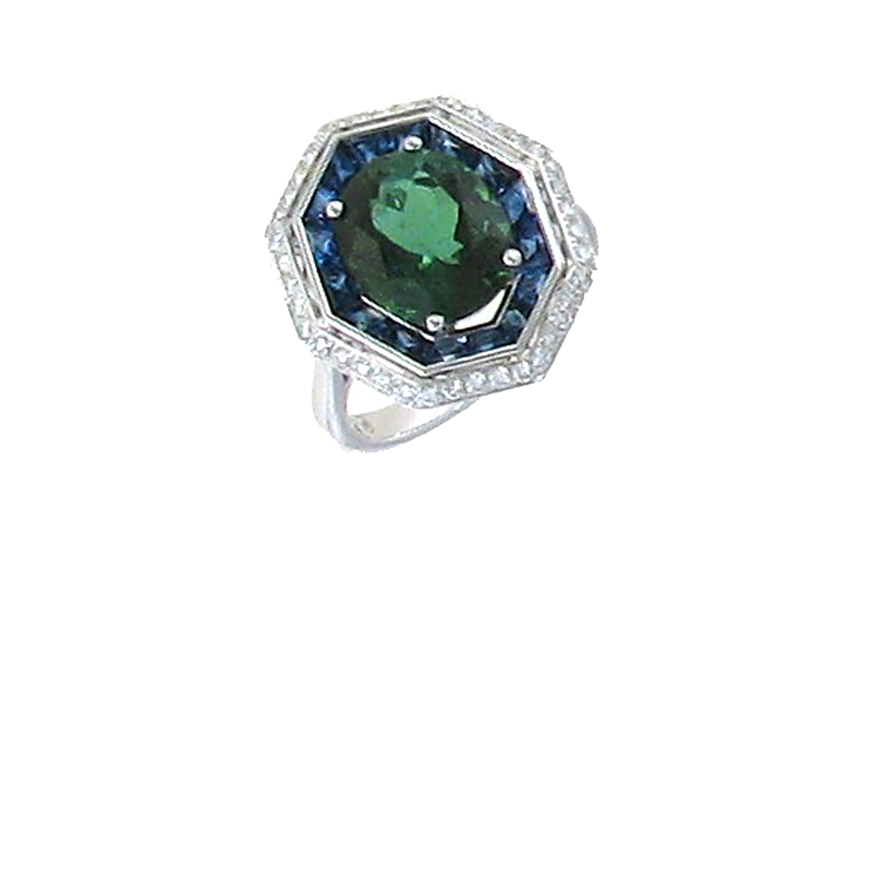 Roberto Coin 18Kt Gold Ring With Diamonds, Green Tourmaline And Sapphire