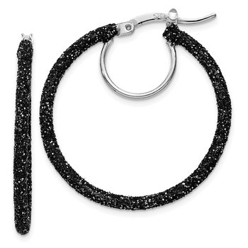 Sterling Silver Rhodium/Black Glitter Enamel 2x30mm Hoop Earrings