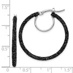 Quality Gold Sterling Silver Rhodium/Black Glitter Enamel 2x30mm Hoop Earrings