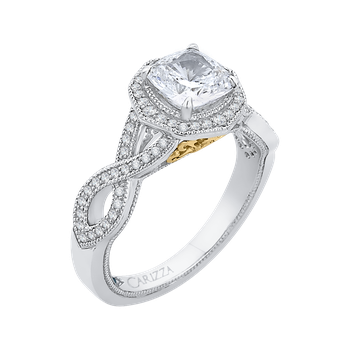 18K Two-Tone Gold Cushion Cut Diamond Halo Engagement Ring with Split Shank (Semi-Mount)