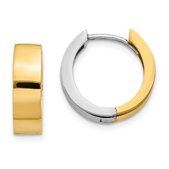 14k Two-tone Round Hinged Hoop Earrings