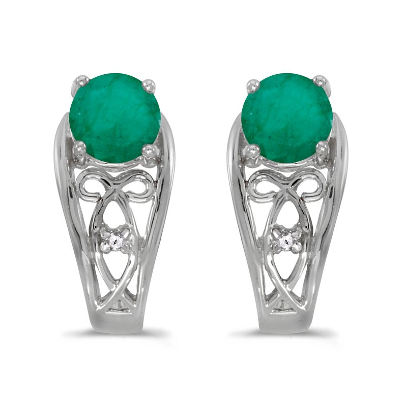 Color Merchants 14k White Gold Round Emerald And Diamond Earrings