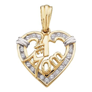 10kt Yellow Gold Womens Round Diamond Mom Mother Heart Pendant 1/8 Cttw