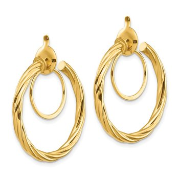 14K Twisted Non-pierced Hoop Earrings