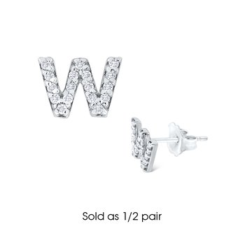 "Diamond Single Initial ""W"" Stud Earring (1/2 pair)"