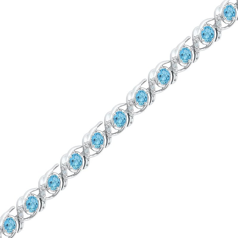 Kingdom Treasures Sterling Silver Womens Round Lab-Created Blue Topaz Diamond Tennis Bracelet 4-1/2 Cttw