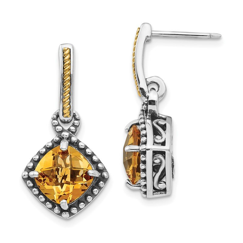 Arizona Diamond Center Collection Sterling Silver w/14ky Citrine Post Dangle Earrings