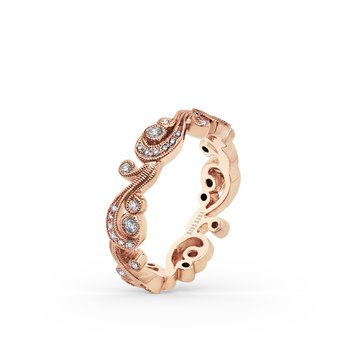 Feminine Waves Milgrain Diamond Wedding Band