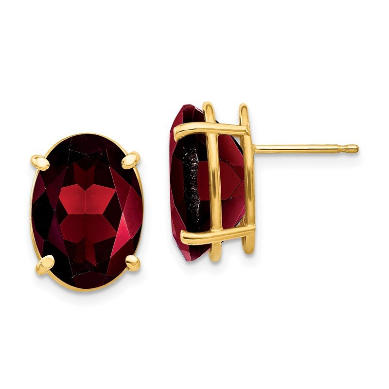 Quality Gold 14k 14x10mm Oval Garnet Earrings