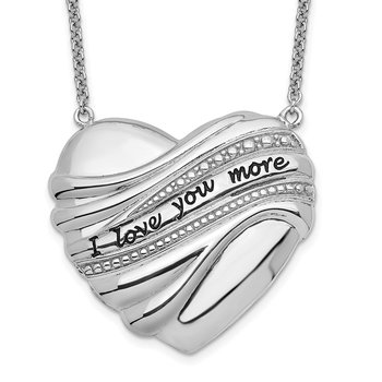 Sterling Silver Antiqued I Love You More 18in. Necklace