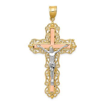 14K Tri-color Diamond-cut Crucifix Pendant