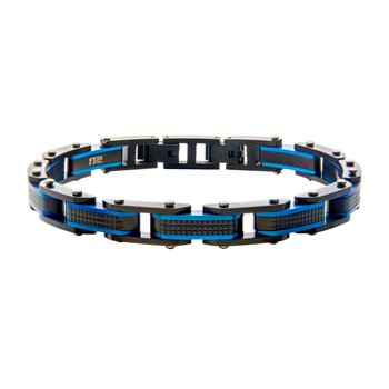 Steel Black Plated and Blue Plated Link Bracelet