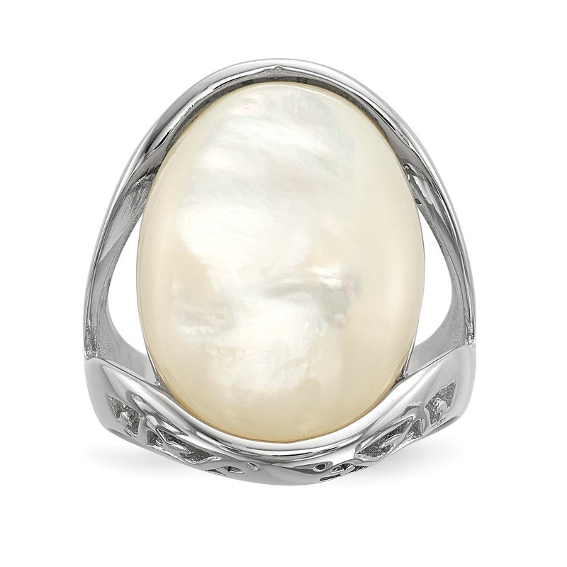 Quality Gold Sterling Silver Rhodium-plated Mother of Pearl Ring