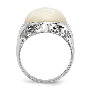 Sterling Silver Rhodium-plated Mother of Pearl Ring