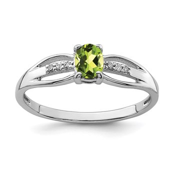 Sterling Silver Rhod-plated Diamond Peridot Ring