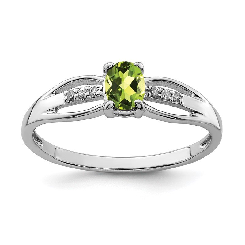 Quality Gold Sterling Silver Rhod-plated Diamond Peridot Ring