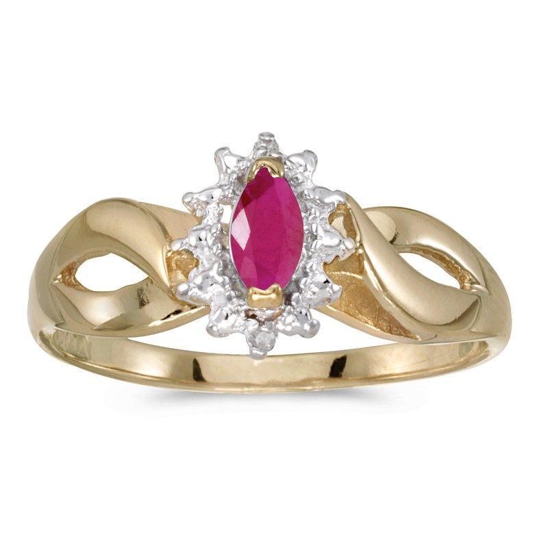 Color Merchants 10k Yellow Gold Marquise Ruby And Diamond Ring