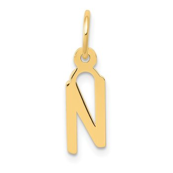 14k Small Slanted Block Letter N Initial Charm