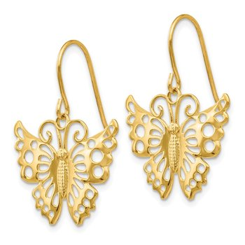 14k Dangle Butterfly Shepherd Hook Earrings