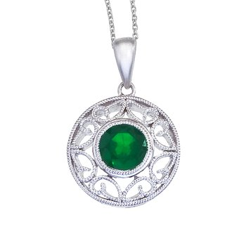 14k White Gold Emerald Filigree Pendant
