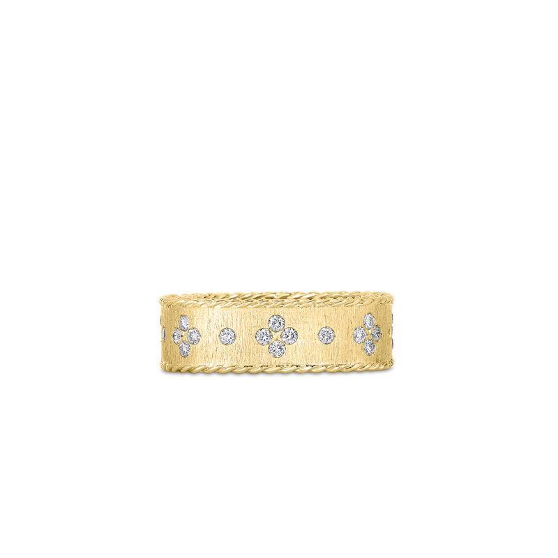 Roberto Coin Satin Finish Ring With Fleur De Lis Diamonds &Ndash; 18K Yellow Gold, 6.5
