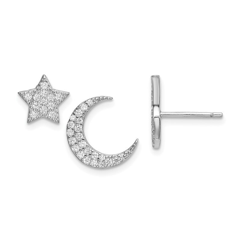 Quality Gold Sterling Silver Rhodium-plated CZ Star and Moon Post Earrings