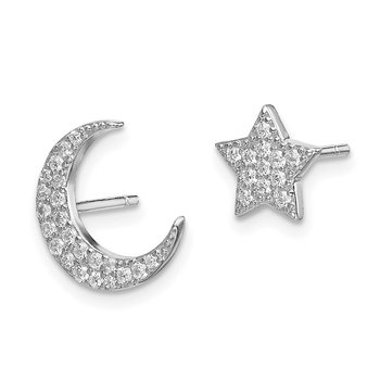 Sterling Silver Rhodium-plated CZ Star and Moon Post Earrings