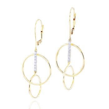Yellow gold diamond bar single loop earrings