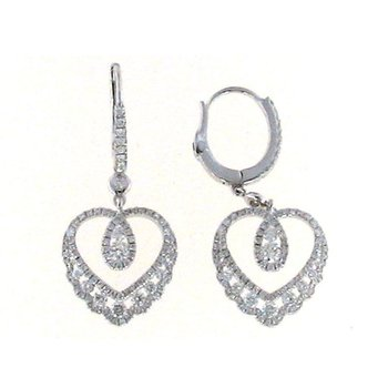 18Kt White Gold Diamond Heart Earrings