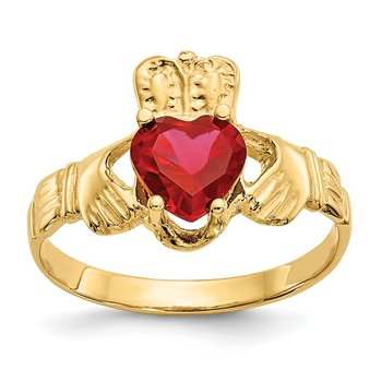 14k July CZ Birthstone Claddagh Ring