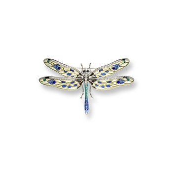 Yellow Dragonfly Brooch-Pendant.Sterling Silver-Blue Sapphires and White Sapphires - Plique-a-Jour