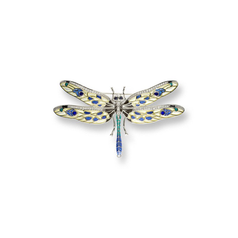 Nicole Barr Designs Yellow Dragonfly Brooch-Pendant.Sterling Silver-Blue Sapphires and White Sapphires - Plique-a-Jour