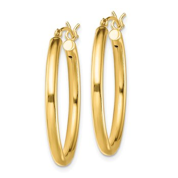 Sterling Silver Gold-Tone Polished 2.5x28mm Hoop Earrings
