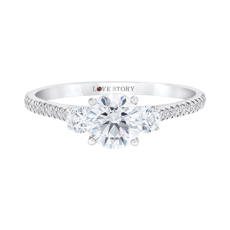 Love Story Diamonds Side Stone Engagement Ring by Love Story
