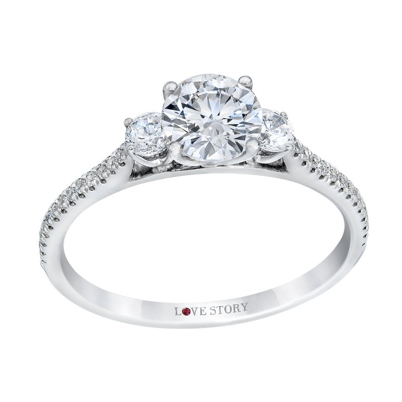 Side Stone Engagement Ring by Love Story